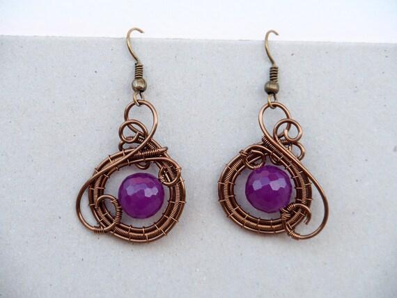 Purple Jade wire wrapped earrings ~ Small ~ Simple ~ Everyday wear