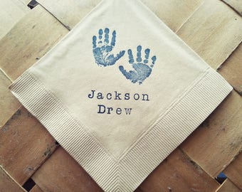 Baby Shower Napkins Light Burlap Personalized Handprints with Baby Name Cocktail Napkins in Navy ink  - Set of 50