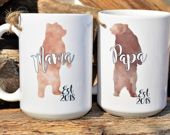 New MAMA BEAR or PAPA Bear Mugs, Includes Baby Bear on Back,Est. Year, Cute Pregnancy Announcement or Shower Gift