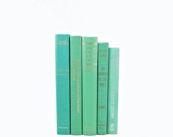 Mint Green Books, Decorative BOoks, Old Book Decor, Wedding Centerpiece, Antique Book Set, Home Library Decoration, Bookshelf Decor,