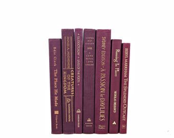 BURGUNDY Book Set, Red Wine Books, Wedding Decor Centerpiece, Decorative Books for by Color, Instant Library, Home Decor, Interior Design