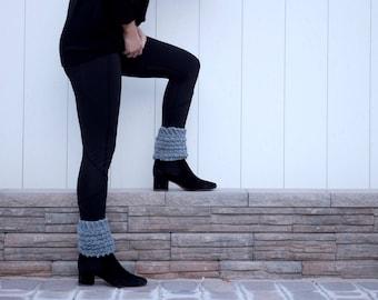 Gray Bootie Cuffs - boot cuffs - boot cuff womens - crocheted knit boot cuff