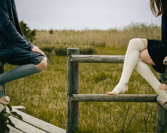 Yoga socks / dance socks / leg warmers / boot socks White, very long, knitted comfortable warm Accessories Womengift for yoga legwear