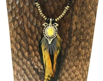 Sunburst Beaded Feather Necklace
