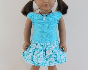"""Aqua Blue Knitted Top Blue Skirt - Dolls clothes to fit 20"""" Australian Girl dolls & 18"""" American Girl doll and friends"""