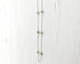 Delicate Sterling Silver Chrysoprase Necklace/Gemstone Birthstone Crystal Necklace/Bridesmaid Necklace/Dainty Sterling Silver Layer Necklace