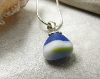 Multi-color beach glass with blue, white, gray and a touch of yellow