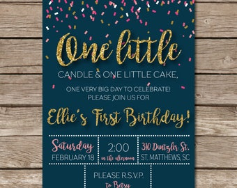 First Birthday Invitation Little Girl Confetti Glitter One Party Digital File Print Printable
