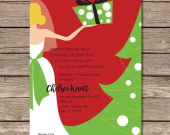 Christmas Shower Invitation Wedding Bride Present Tree Love Marriage Party Print Digital Printable