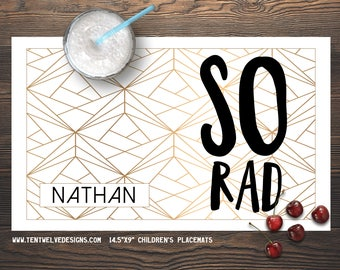 SO RAD Personalized Placemat for Kids - Children's Placemat, Personalized Kid's Gift, Fast Shipping - geo pattern, gold, rad