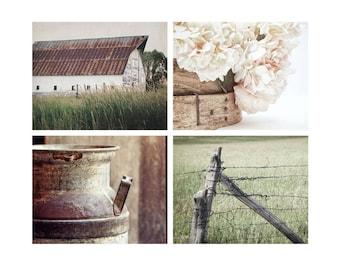 Farmhouse Chic Art, Country Photography, Pink Hydrangeas, Rustic Wall Art, Farm Decor, White Barn Art, Pink & Green Print Set - SAVE 20%