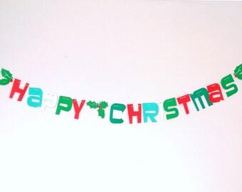 Happy Christmas Garland, Mantle Garland, Christmas Decoration, Xmas Bunting, Holiday Garland, Christmas Mantel, Christmas Decor, Xmas Decor
