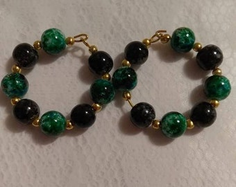 Green Multi and Black 8MM Bead Hoop Earring