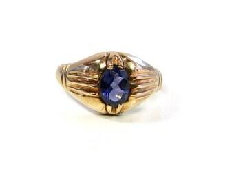 Yellow Gold Iolite Ring, Iolite Ring, Iolite Jewelry, Vintage Jewelry, Vintage Iolite Ring, Mid Century Jewelry, 1950's Iolite Ring