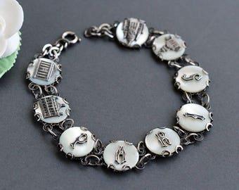 French Souvenir Bracelet, Vintage Antique RARE French Mother of Pearl PARIS letter disk bracelet with monuments