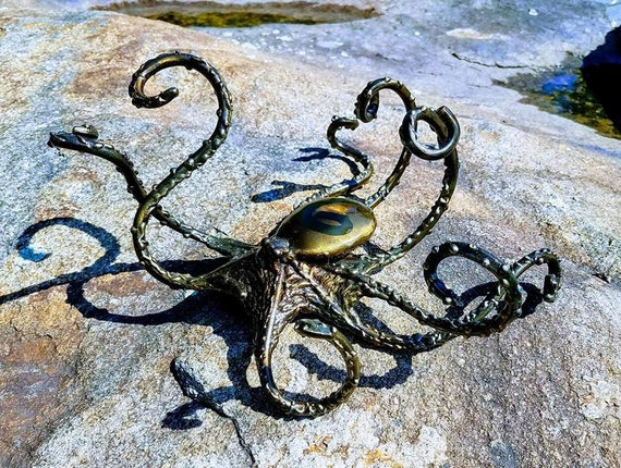"Stunning octopus sculpture in outdoor grade finish, made to order with approximate 10"" radius"