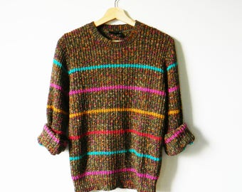 Delicious Rainbow Stripe Vintage Sweater / Retro Pullover Jumper in Marled Knit / Rad 80s Sweater Colorful Stripe
