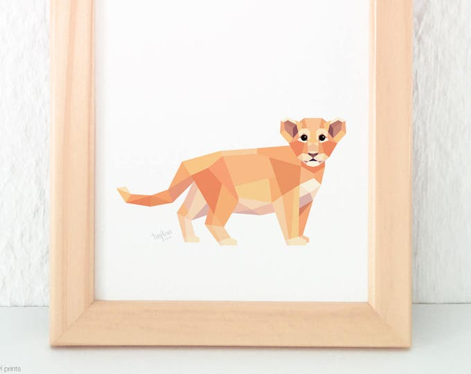Baby lion print, Lion cub, Lion illustration, Children animal art, Safari animals, Savannah wildlife, Nursery animal art, Baby room artwork