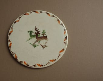 Danish Art Deco trivet airbrush Spritzdekor trivet  stag deer motif cabin decor vintage 30s china woodsy cabin charm