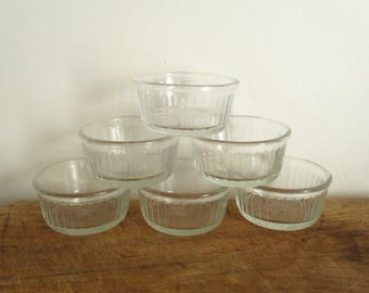 6 vintage french DURALEX glass ramekins, 1970s, Ramequins, Retro kitchen, Bowl, France