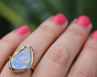 fire opal ring, opal ring, gold ring, statement ring, fire opal, boulder opal, cocktail ring, gold dipped, opal jewelry