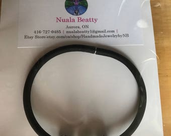 3 Crystal Slider Beads on Black Rubber