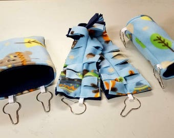 Custom Sugar glider cage set tunnel hanging pouch and climbing vine rope Glider Accessories, Sugar Glider Toys, Sugar Glider Pouch
