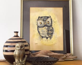 Beautiful Signed Margaret Layton Mid Century Modern Framed Owl Lithograph