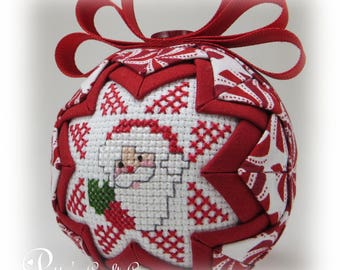 Quilted Ornament - Santa Ornament - Quilted Christmas Ornament