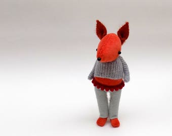 Velvet Fox  -  Handmade plush  fox wearing grey felt pants with red trim and matching woolly pullover.