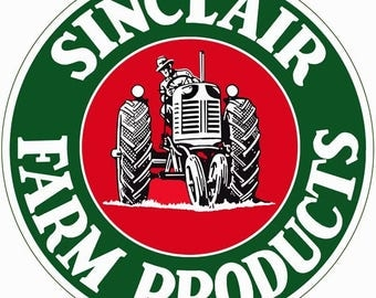 GAS STATION SIGNS! Nostalgic Sinclair Farm Products Advertising 14 Inch Round 24g Metal Sign.