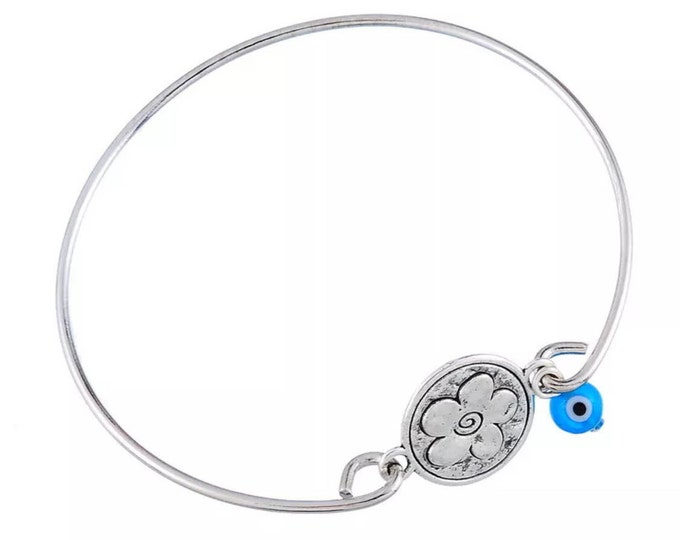 Bracelet rigide fleur
