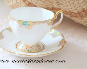 TEA CUP, Vintage English Bone China Tea Cup and Saucer Duo by Salisbury, Gifts for Her, Tea Party, Wedding Gift Inspiration - c. 1927 - 1961