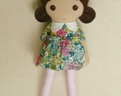 Fabric Doll Rag Doll 20 Inch Brown Haired Girl in Pink and Teal Floral Dress with Pink Shoes