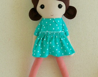 Fabric Doll Rag Doll Brown Haired Girl in Aqua Polka Dotted Dress with Coral Leggings