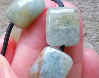 1 - Large Hole - Aquamarine - Beryl - Smooth Polished - Rectangle Focal Nugget Beads, 2mm Big Drill Hole Loose Semi Precious Gemstone Beads