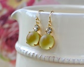 Pale Yellow Earrings, Frosted Glass Earrings, Vintage Bead Jewellery, Gold Fill Hooks, Lemon Yellow Gifts, Mothers Day Present