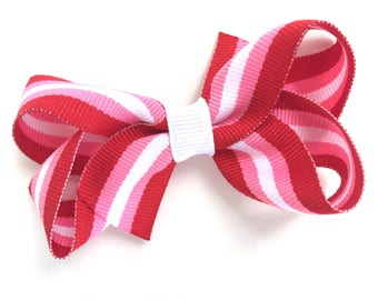 Pink, red & white striped hair bow - girls bows, hair bows, toddler hair bows, 3 inch bows, girls hair bows, baby hair bows, hair bow, bows