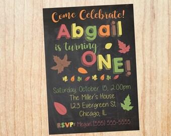 Fall 1st Birthday Invitation. PRINTABLE. Fall first birthday invitation. 1st invite digital. autumn first birthday invitation. thanksgiving.