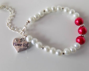 Pink Wedding Jewelry, Flower Girl Bracelet, Flower Girl Child Bracelet, Flower Girl Heart, Flower Girl Jewellery, Flower Girl Pearl