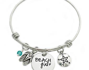 Beach Girl Bangle Bracelet - Engraved Jewelry - Expandable Wire Bangle - Beach Jewelry - Flip Flop - Sea Glass - Summer Beach Jewelry - 1004