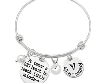 Personalized It Takes A Big Heart To Teach Little Minds Bracelet - Engraved Jewelry - Teacher Appreciation Gift - Teaching Gift - 1054