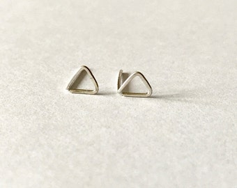 Tiny Sterling silver triangle earrings -  triangle studs, minimalist earrings, geometric studs, tiny earrings, everyday, gift for her