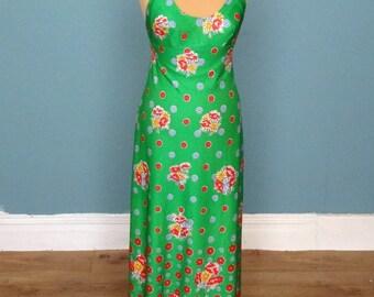 Vintage 70's Floral Print Halter Neck Maxi / Evening Dress UK Size 6