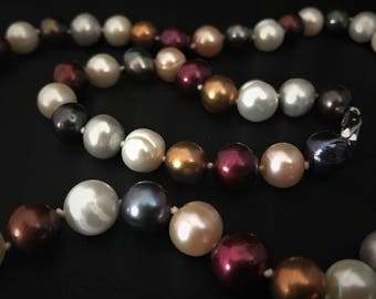 Multi color Freshwater Pearl Set, Pearl Necklace, Pearl Bracelet, Wedding Pearls, Wedding Jewelry, Bridesmaids Jewelry,