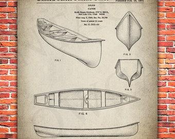 Vintage Canoe Patent Poster Print - Patent Print Art - Outdoor Canoe - Canoe Poster - #060