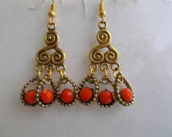 Gold Tone Chandelier Earrings with Gold and Orange Dangles