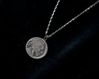 Buffalo Nickel Necklace |Sterling Silver | Handmade | Upcycled