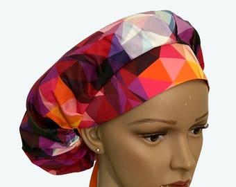 Bouffant Scrub Hat with ties -Colorful Kaleidoscope Bouffant scrub hat -  Ponytail Scrub hat - Custom Scrub Hat - Personalized Scrub hat