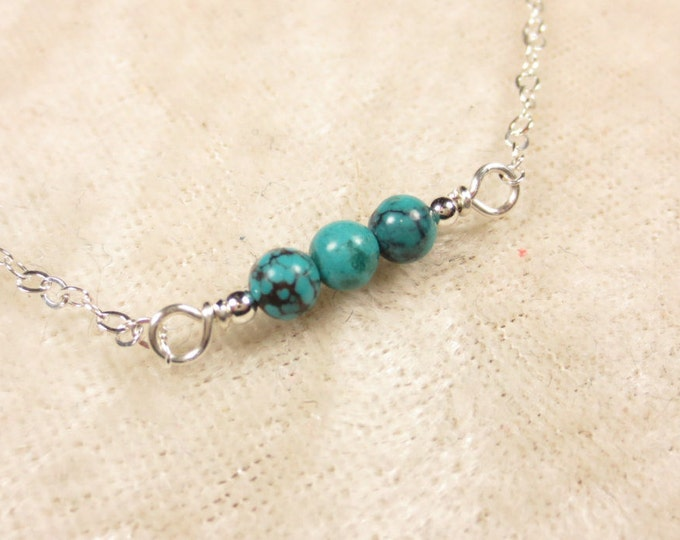 4mm Horizontal Turquoise Necklace on Sterling Silver or 14k Gold Fill